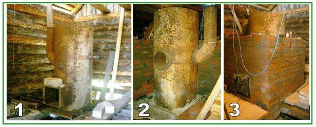 Установка печки из трубы в баню - подготовка места и экрана