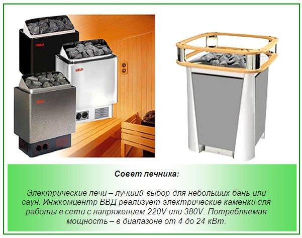 Мощность электрических печей для бани