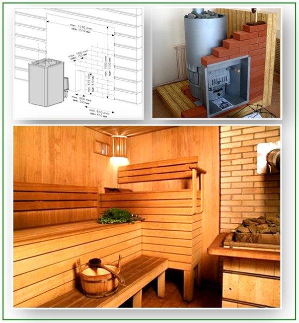 Чугунная печь в бане - установка и закладка кирпичом