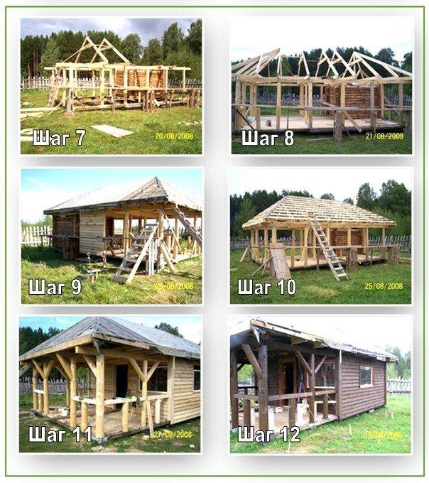 Строительство бани с беседкой (7-12 шаг)