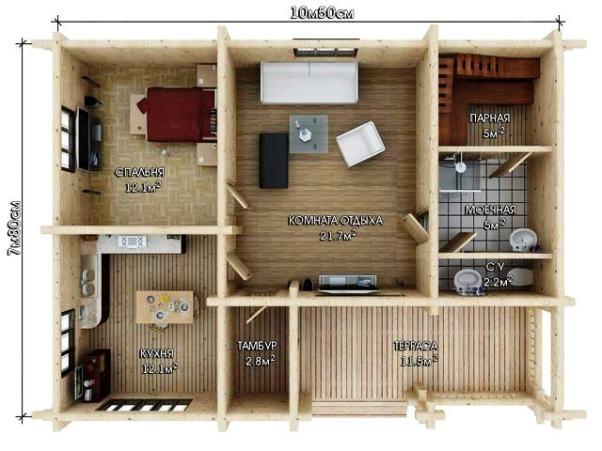 Дом-баня: варианты планировки
