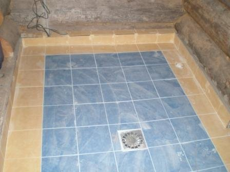 Укладка плитки на пол своими руками в бане