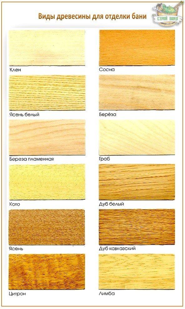 Виды древесины для отделки бани