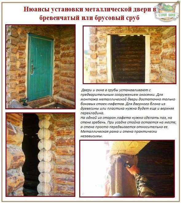 установка железной двери в рублено доме