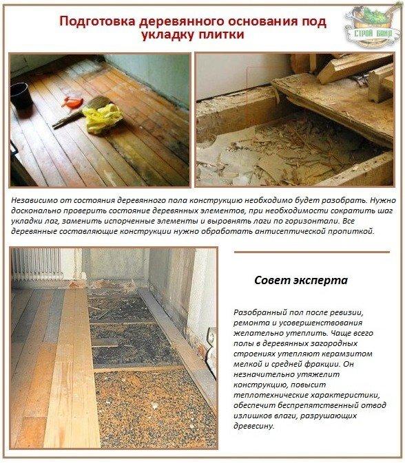 Как укладывается керамическая плитка на деревянный пол