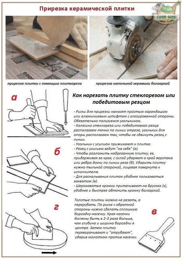 Прирезка плитки для укладки на деревянный пол