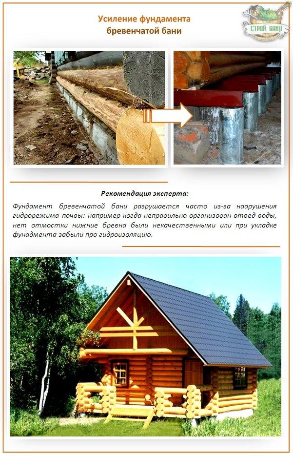 Усиление фундамента бревенчатой бани