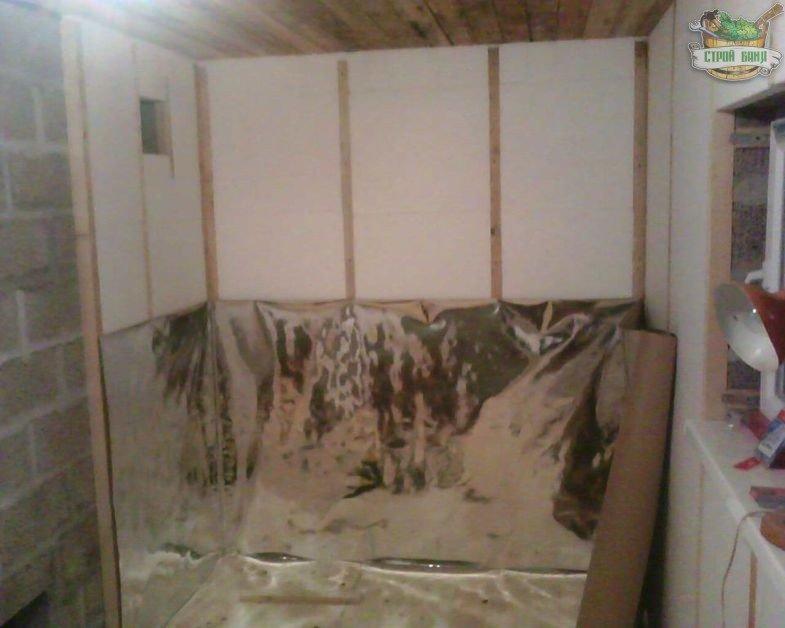 Фольга поверх ППС на внутренних стенах бани
