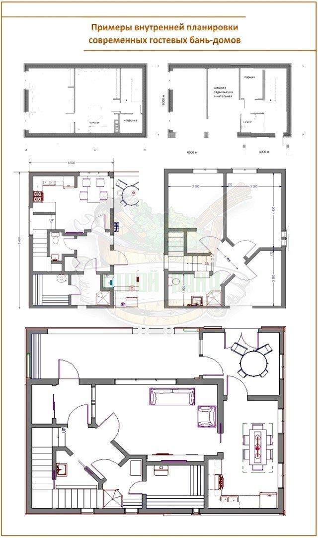 Планировка дома бани
