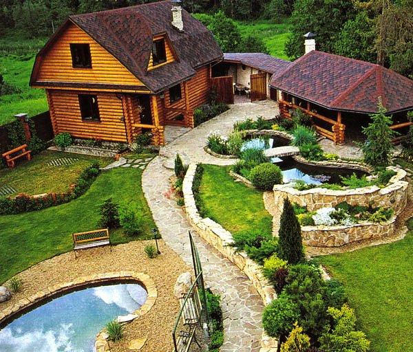 Ландшафтный дизайн дачного дома с баней