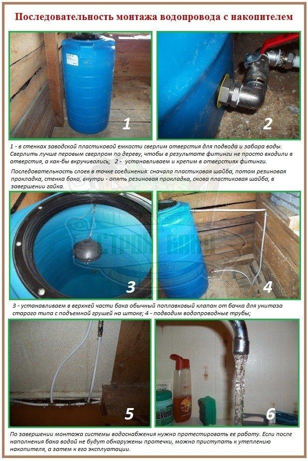 Как установить накопитель для холодной воды