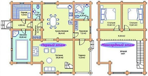 проекты дома с сауной на первом этаже