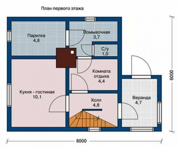 Баня с кухней на первом этаже