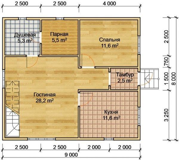 Баня с гостиной, кухней и спальней