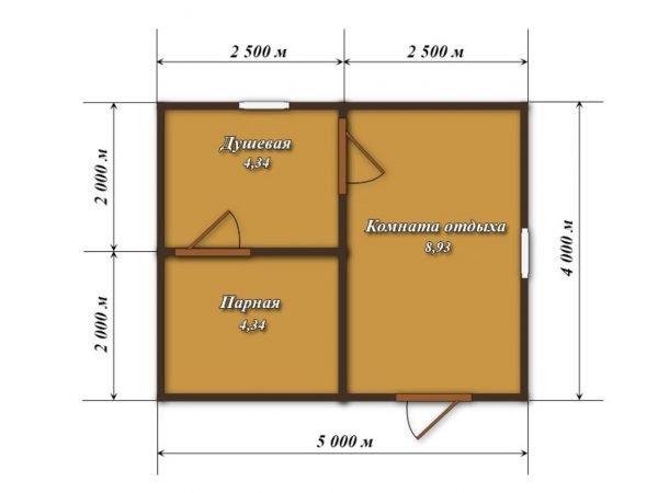 Планировка бани из бруса размером 5х4 м