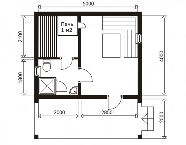 Планировка бани 4х5 с верандой