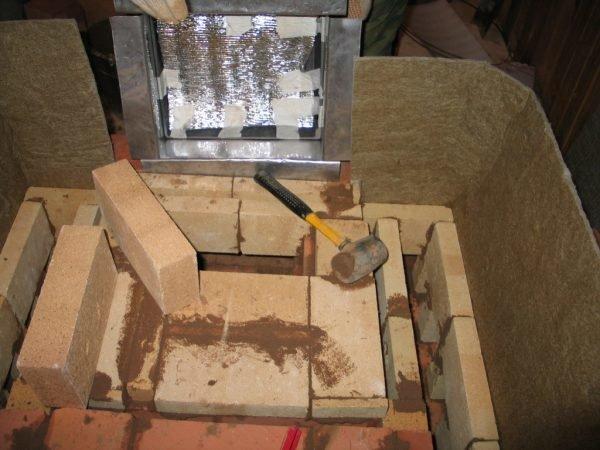 Размещение огнеупорной прослойки между кирпичной кладкой и стенами