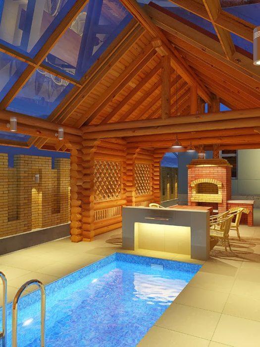 проект бани с бассейном и беседкой