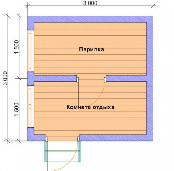 Баня 3х3 м с парилкой и комнатой отдыха
