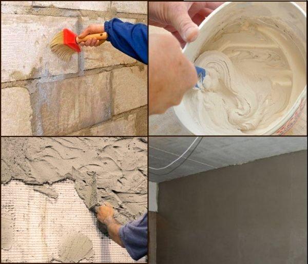 Процесс оштукатуривания стен