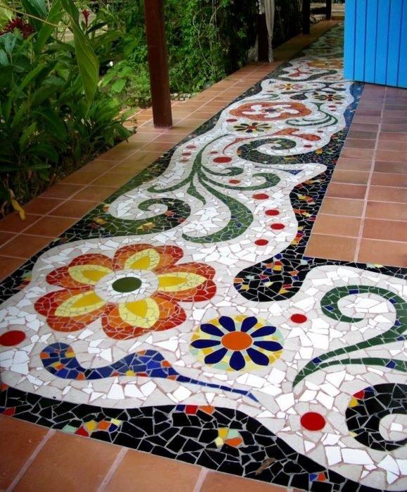 мозаичный пол своими руками