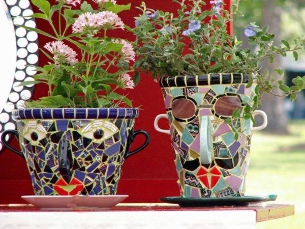 Горшки для цветов из старой плитки