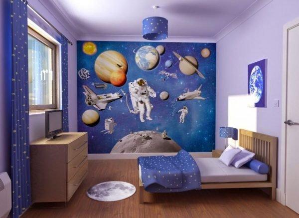 Обои «Космос» в интерьере детской