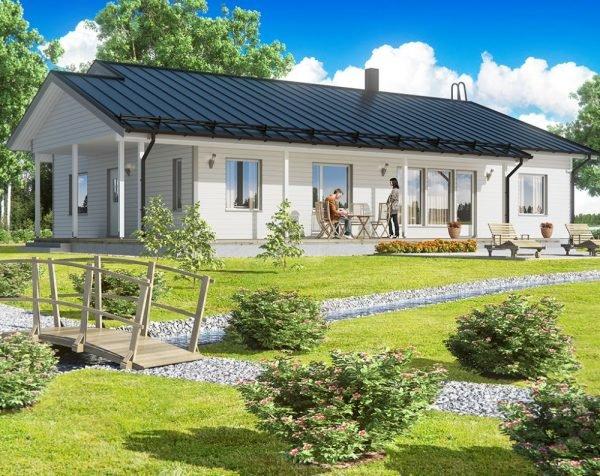 Одноэтажный дом с садом