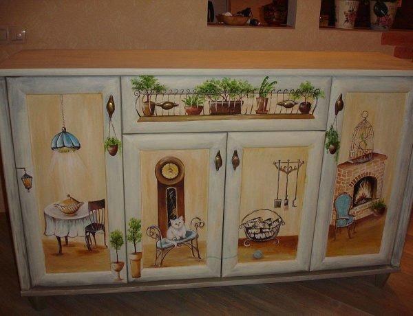 Ручная роспись кухонной мебели