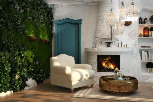 Стена из мха и ползучей зелени в гостиной