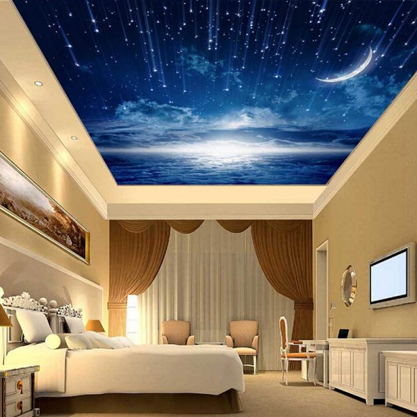 Спальня с натяжным потолком