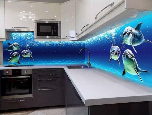 Кухонный фартук с дельфинами