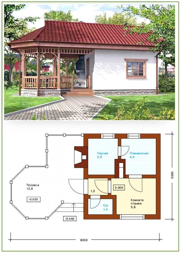 Проект баня и беседка под одной крышей