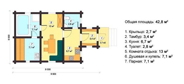 Баня с кухней - планировка