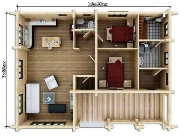 Дом-баня планировка с большой гостиной