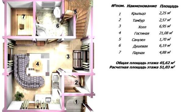 Планировка первого этажа бани