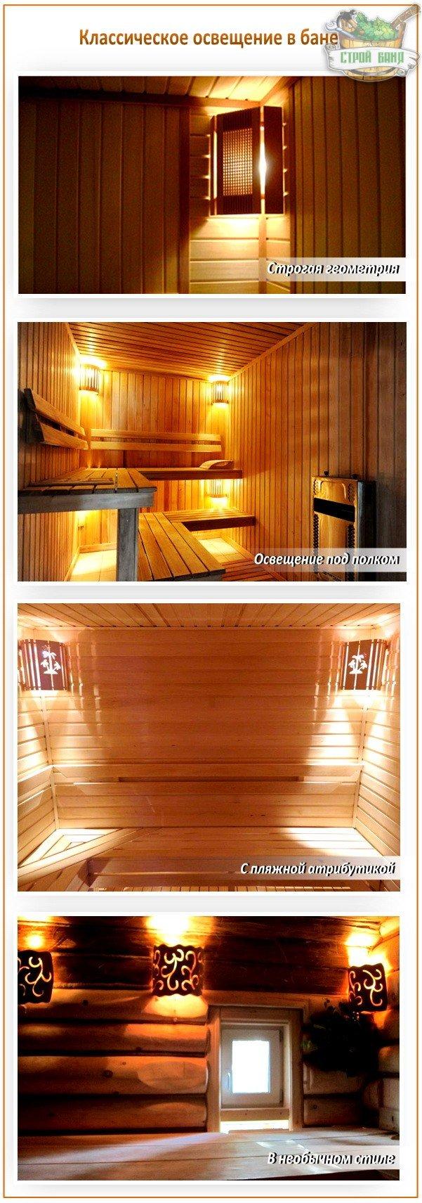 Классическое освещение в бане