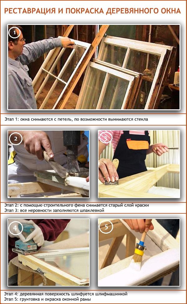 Реставрация и покраска деревянного окна