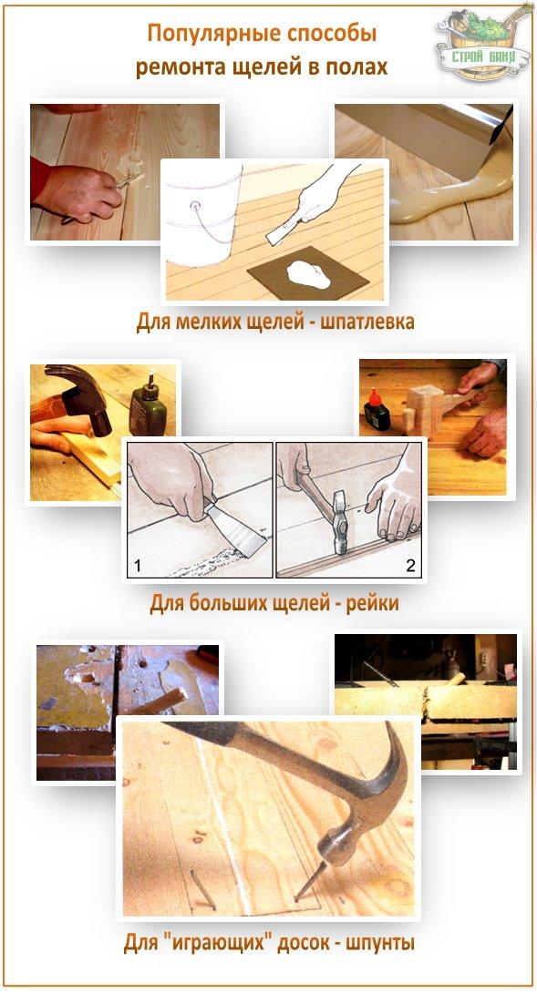 Способы заделать щели в полу в бане