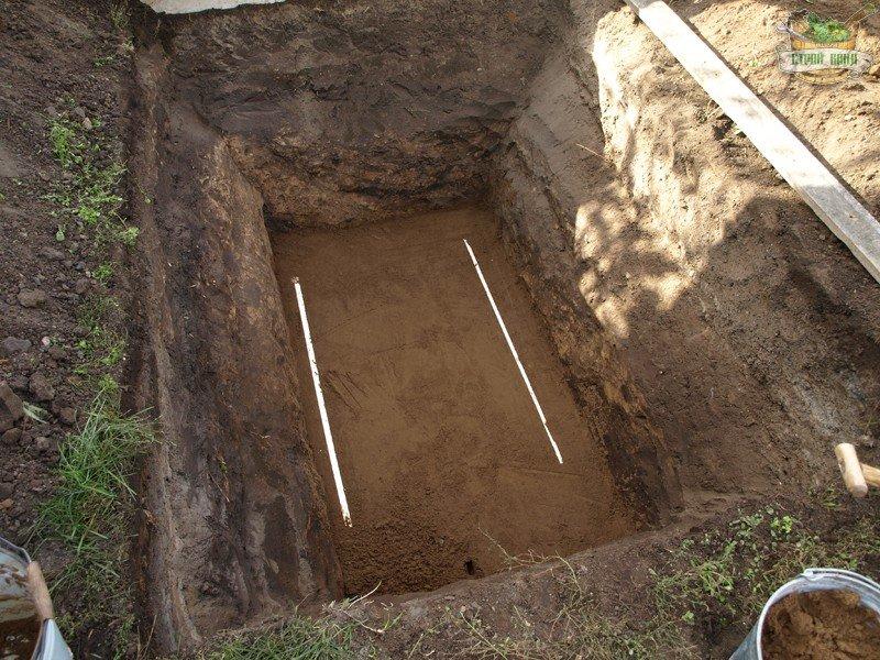 Выравнивание дна ямы с использованием направляющих