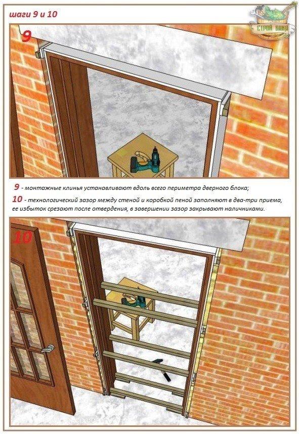 Правила крепления дверной коробки с доборами в проеме