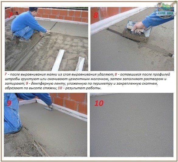 Цементная стяжка верхнего перекрытия
