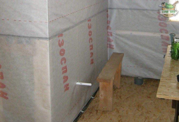 Пароизоляция стен в комнате отдыха