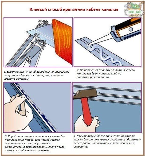 Как крепить кабель канал с помощью клея
