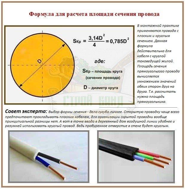 Формулы для расчета сечения провода