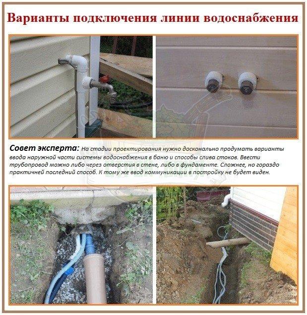 Прокладка летнего водопровода и варианты ввода системы в баню