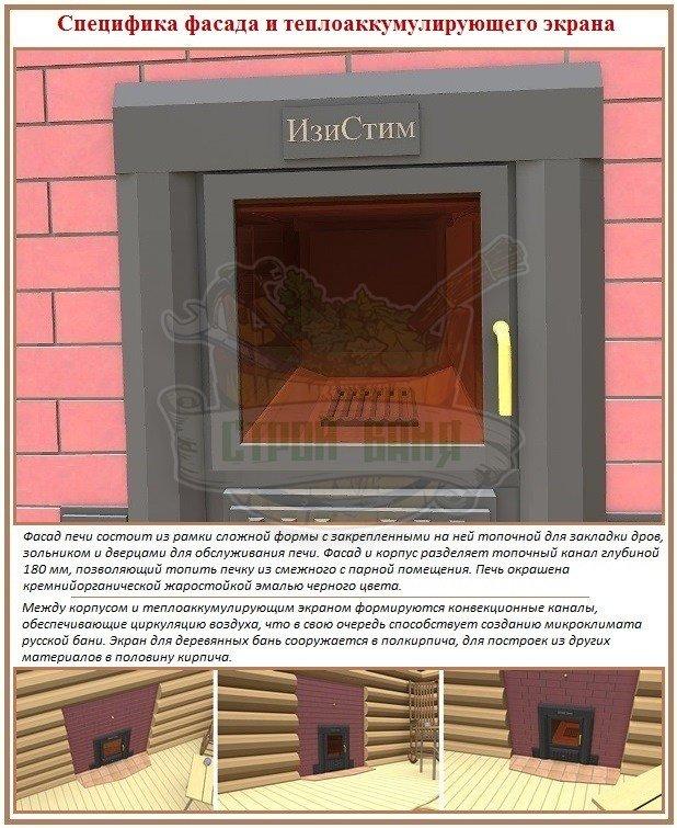 Принцип устройства фасада и теплоаккумулирующего кожуха печей Изистим