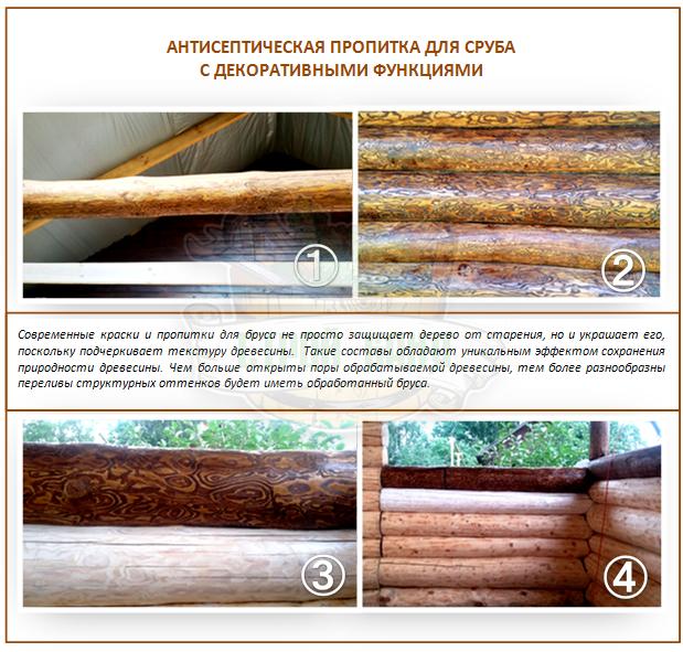 Пропитка сруба бани с выделением текстуры древесины