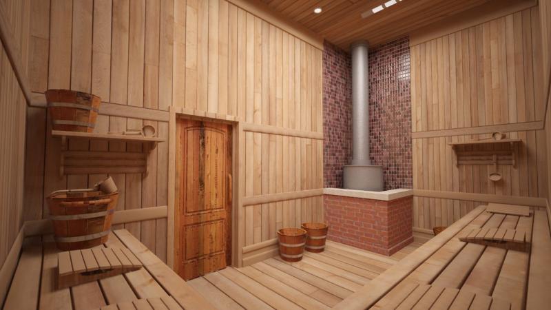 Интерьер помывочной в бане