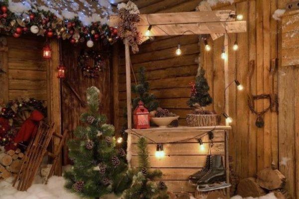 Как украсить баню на Новый год